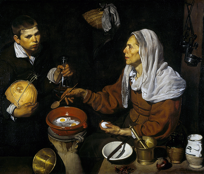VELÁZQUEZ   Vieja friendo huevos National Galleries of Scotland 1618. Óleo sobre lienzo 100.5 x 119.5 cm Letuario y aguardiente